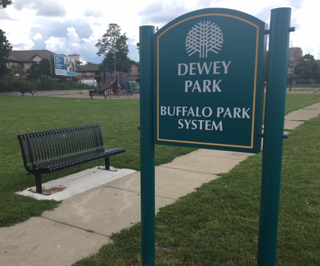 The Dewey Playground signage and benches are examples of projects funded through participatory budgeting.