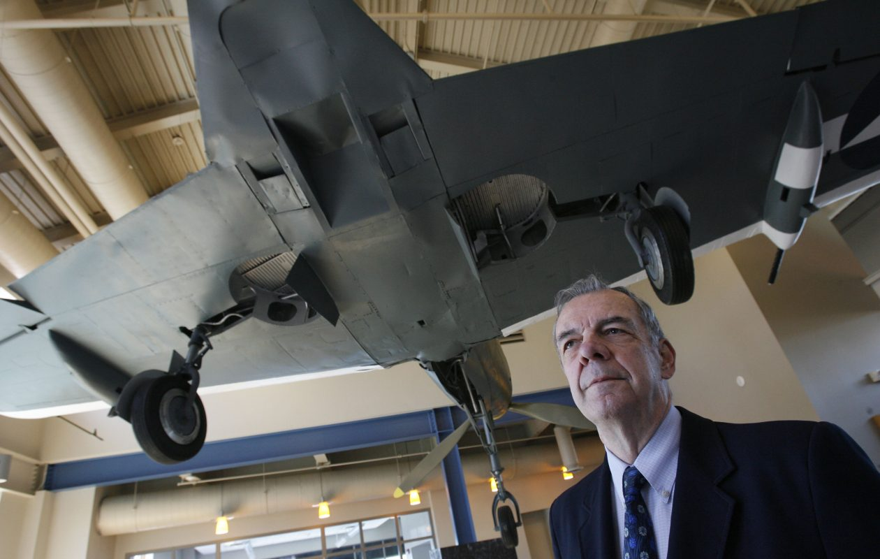 Col. Patrick Cunningham at the Buffalo and Erie County Naval and Military Park with a P39 Airacobra. The WWII fighter was made in Buffalo. (News file photo)