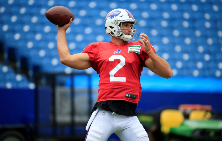 "Bills General Manager Brandon Beane said of rookie quarterback Nathan Peterman: ""When I got here, he is better than we expected. ... He has the moxie, the competitiveness, the leadership ... that's what you're looking for in leaders."" (Harry Scull Jr./Buffalo News)"