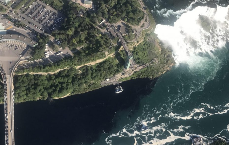This black plume, as seen from the air Saturday evening, was the result of a discharge from the Niagara Falls Water Board's Wastewater Treatment Plant. (Courtesy of Rainbow Air Inc.)