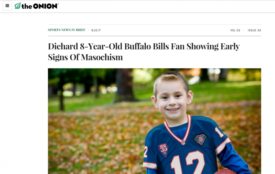 The Onion scores with fake news about troubled Bills fan