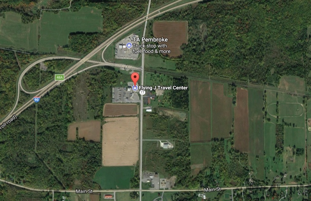 Google satellite image shows  site of Pembroke accident.