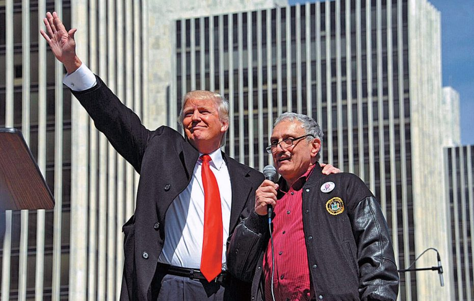 Donald Trump, left, stands with Carl Paladino after speaking to a crowd of Second Amendment advocates rallying against the NY SAFE Act on April 1, 2014, in Albany. (Lori Van Buren /Times Union file photo)