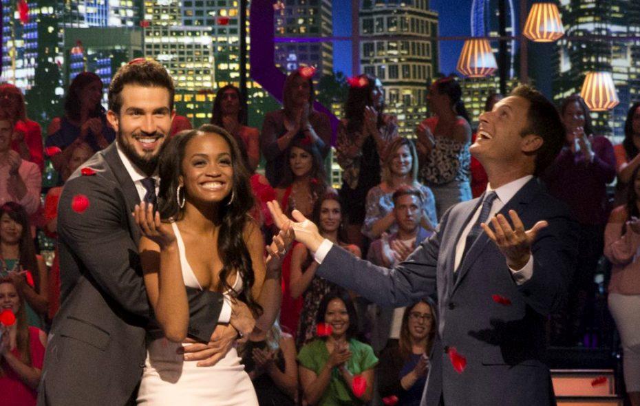 "Bryan, Rachel and Chris Harrison on ""The Bachelorette"" finale. ( Paul Hebert, ABC)"