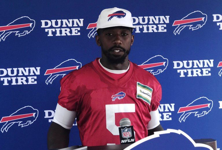 Buffalo Bills quarterback Tyrod Taylor speaks to the media. (Vic Carucci/Buffalo News)