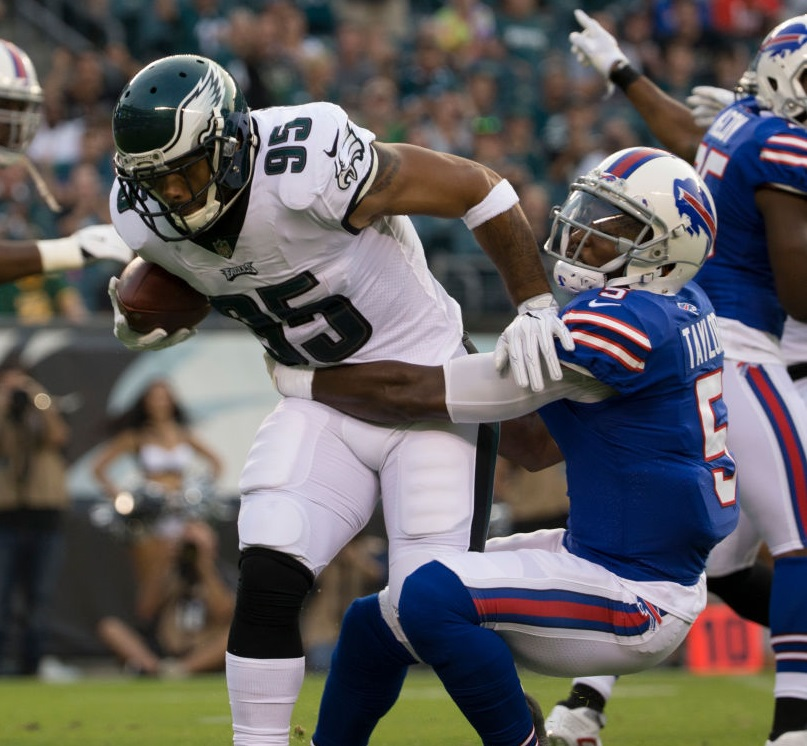 Mychal Kendricks of the Philadelphia Eagles intercepts a pass and is tackled by Bills QB Tyrod Taylor in the first quarter of the preseason game at Lincoln Financial Field on August 17, 2017 in Philadelphia, Pennsylvania. (Getty Images)