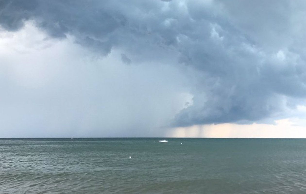 Water spouts over Lake Erie in this photo were taken from near Mickey Rats earlier this summer. The National Weather Service says there's a chance for a few more through Thursday thanks to the arrival of a cool airmass. (Tom Kirbis/Special to The News)