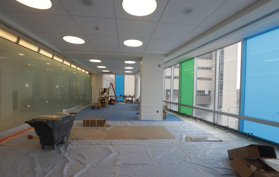 A hallway on the third floor of the John R. Oishei Children's Hospital shown in June, when the new hospital was about 90 percent complete. Hospital staff are preparing for the November move to the new location on Ellicott Street. (John Hickey/Buffalo News file photo)