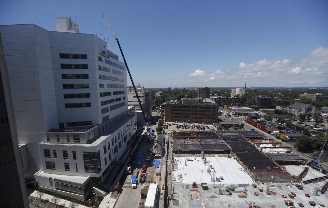 Construction, shown here in July, is wrapping up at John R. Oishei Children's Hospital on Ellicott Street. The new hospital, which will replace Women & Children's Hospital on Bryant Street, is slated to open Nov. 10.  (John Hickey/Buffalo News file photo)