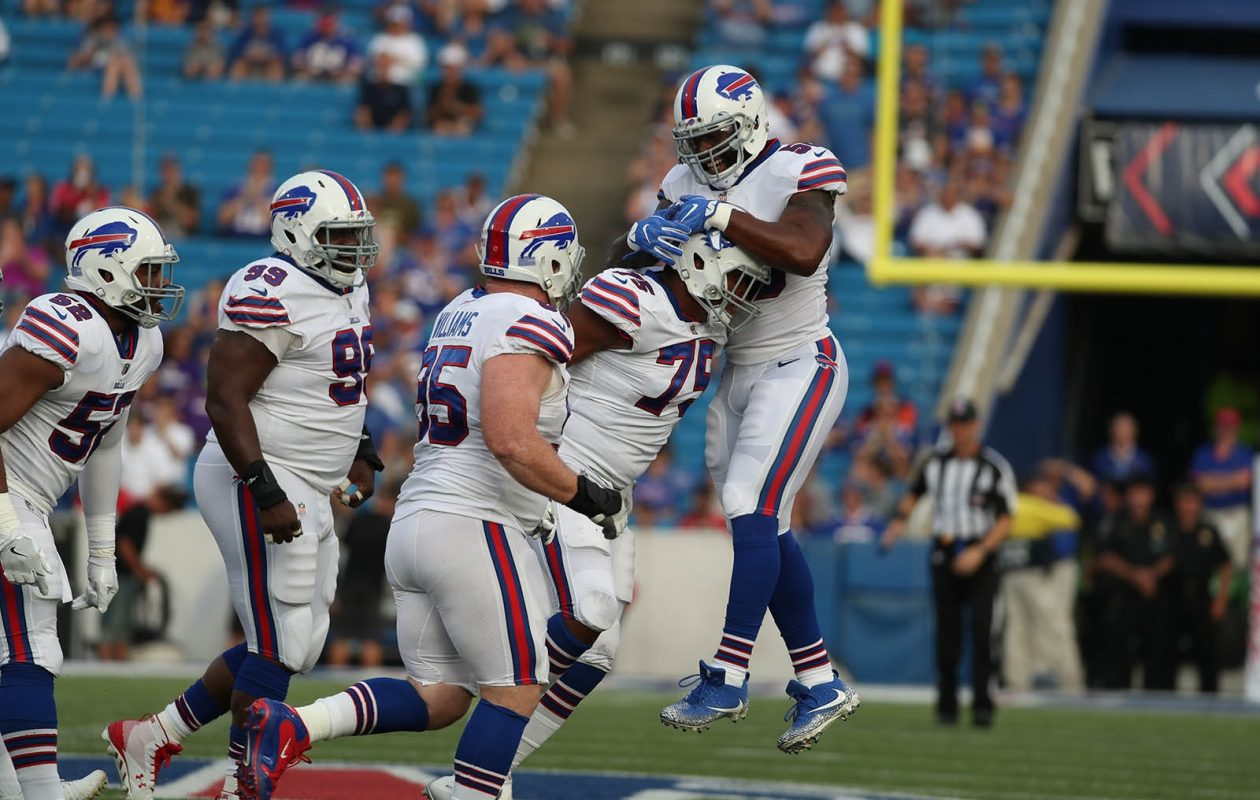 The Buffalo Bills' defensive line, led by tackles Kyle Williams (95) and Marell Dareus (99) should have the upper hand against the Jets' offensive line Sunday. (James P. McCoy/Buffalo News)