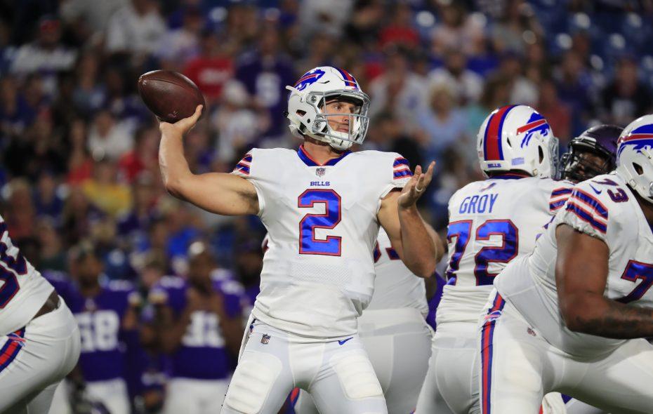 Buffalo Bills quarterback Nathan Peterman passes against the Minnesota Vikings during the Bills' preseason opener. (Photo: Harry Scull Jr./Buffalo News)