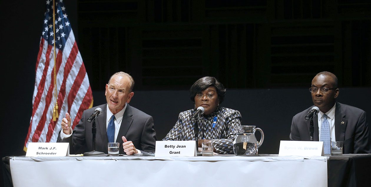 A relatively paltry number of Buffalonians will determine whether Mark J.F. Schroeder, Betty Jean Grant or incumbent Byron W. Brown leads the city for the next four years. (Robert Kirkham/News file photo)
