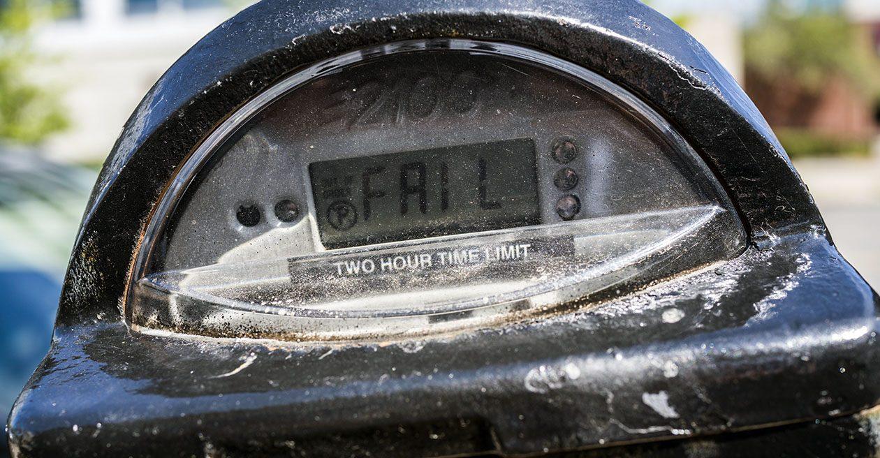 A malfunctioning parking meter on Delaware Avenue near Chippewa. (Derek Gee/Buffalo News)