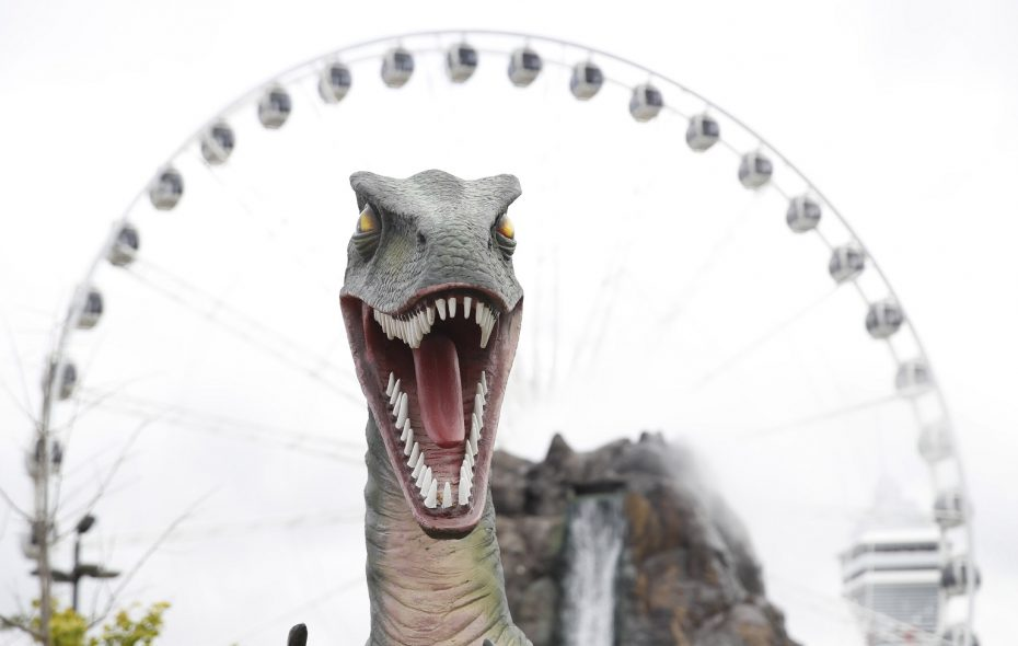 Dinosaur Adventure Golf is next to the Niagara SkyWheel. The course is filled with life-size models of dinosaurs. (Sharon Cantillon/Buffalo News)