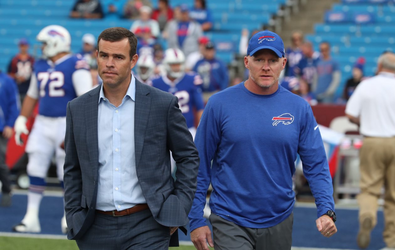 The Buffalo Bills' new leadership, general manager Brandon Beane and coach Sean McDermott, head to the sidelines prior to the Bills' final preseason game. (James P. McCoy/Buffalo News)
