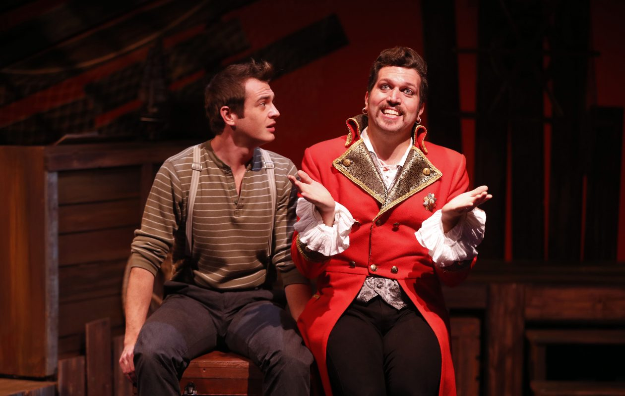 """Steve Copps, right, is marvelous as the flamboyant Black Stache and  Jesse Tiebor is strong and defiant as the future Peter Pan in MusicalFare Theatre's """"Peter and the Starcatcher."""" (Mark Mulville/Buffalo News)"""