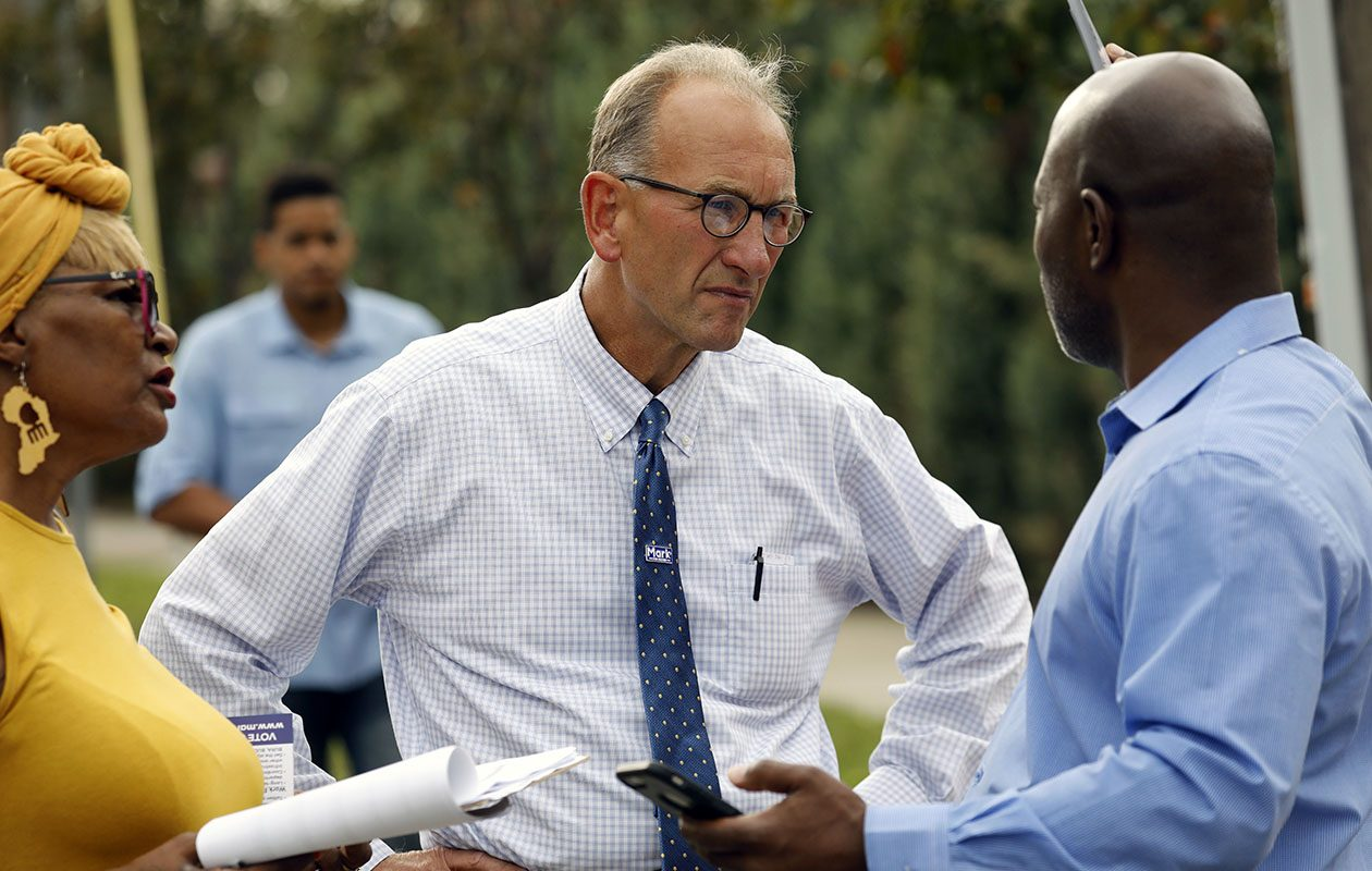 Mark Schroeder pictured on the campaign trail in September 2018 while running against Mayor Byron Brown. (Derek Gee/Buffalo News)