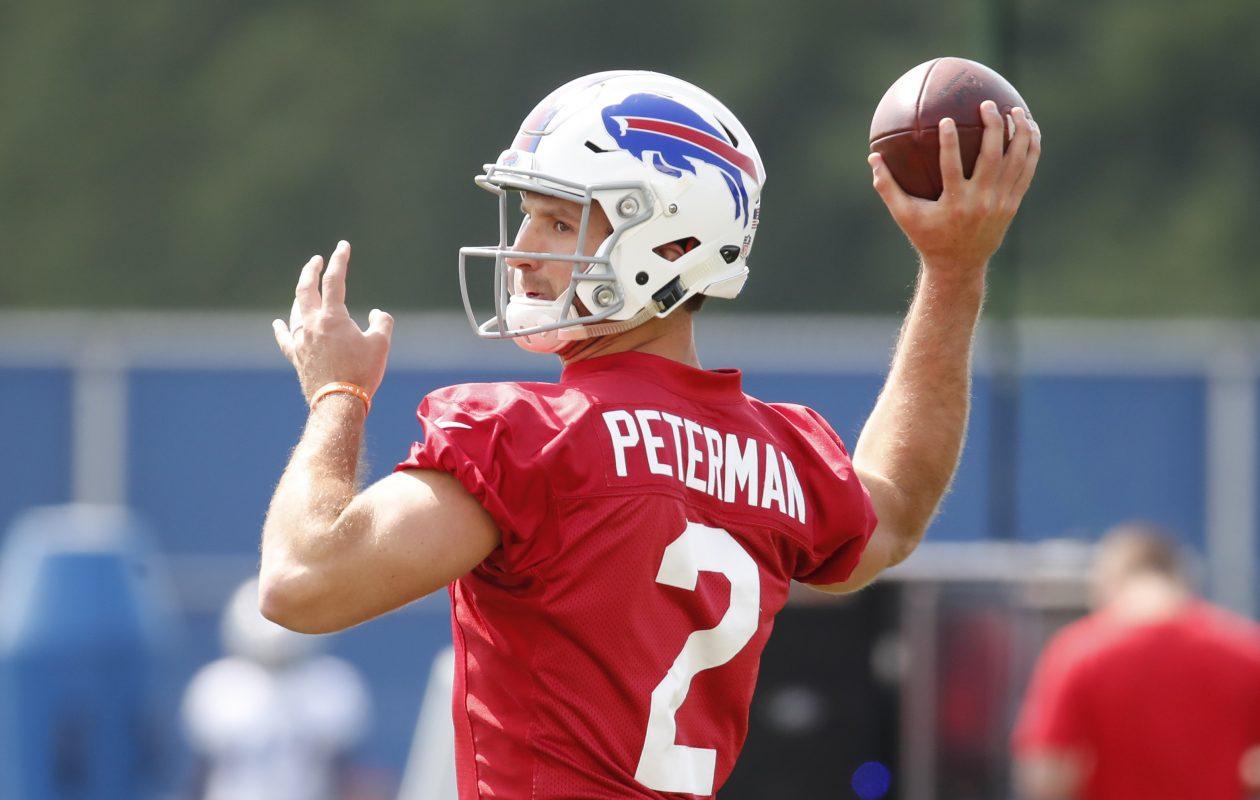 Buffalo Bills quarterback Nathan Peterman throws during practice on Sept. 4, 2017. (Harry Scull Jr./Buffalo News)