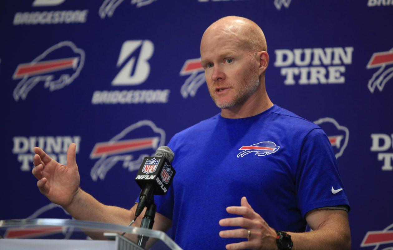 Buffalo Bills head coach Sean McDermott speaks to the media on Monday, Sept. 4, 2017.(Harry Scull Jr./Buffalo News)