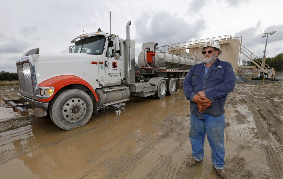 Trucker Eugene Bennett of Liberty, PA,  prepares to leave the mountain after loading his tanker with waste water at Terry Pegula's JKLM Energy LLC  natural gas drilling operations center in the Town of Ulysses, Pa., earlier this month. (Robert Kirkham/Buffalo News)