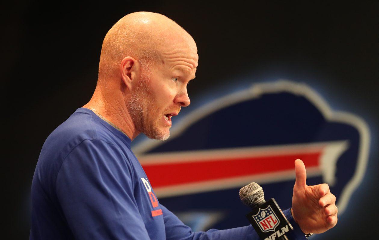 Buffalo Bills head coach Sean McDermott addresses the media in Orchard Park on Wednesday, Sept. 6, 2017.  (James P. McCoy/Buffalo News)