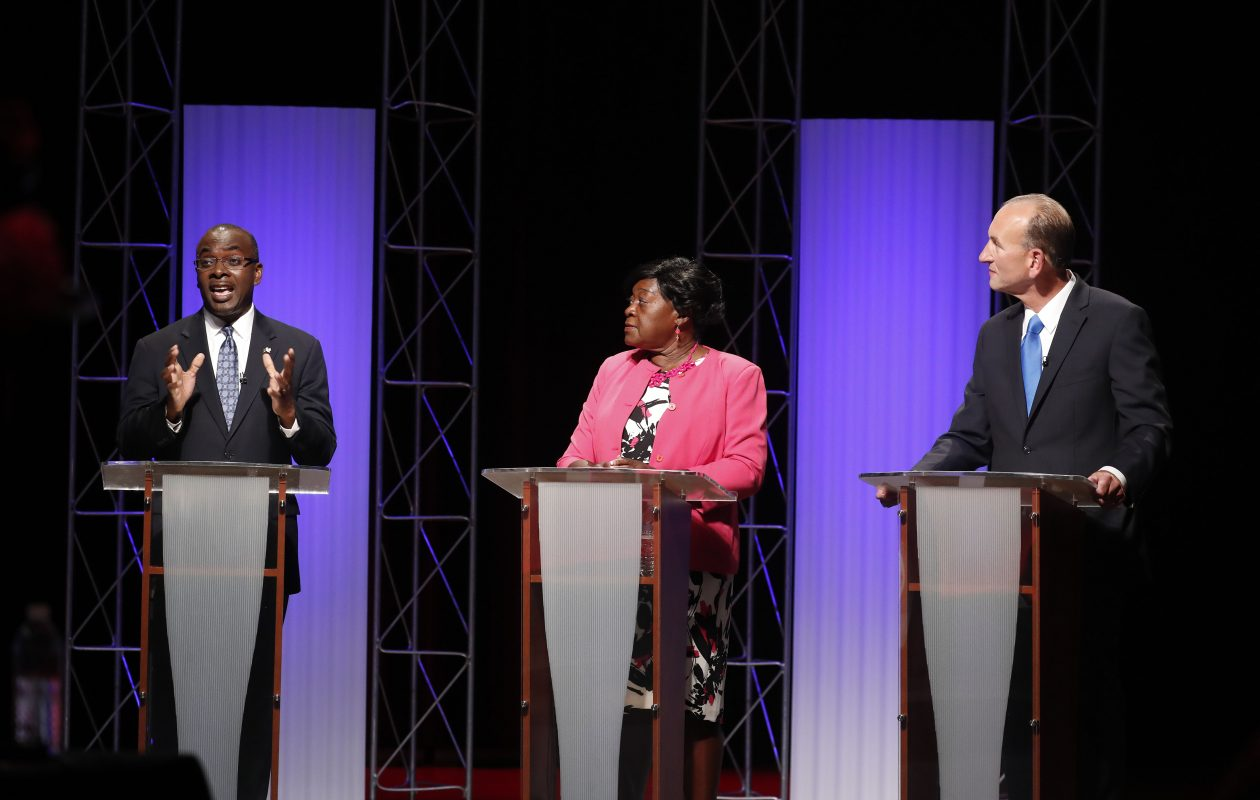Mayor Byron Brown, Betty Jean Grant and Mark Schroeder debate at WNED studios in Buffalo Wednesday, Sept. 6, 2017. (Mark Mulville/Buffalo News)