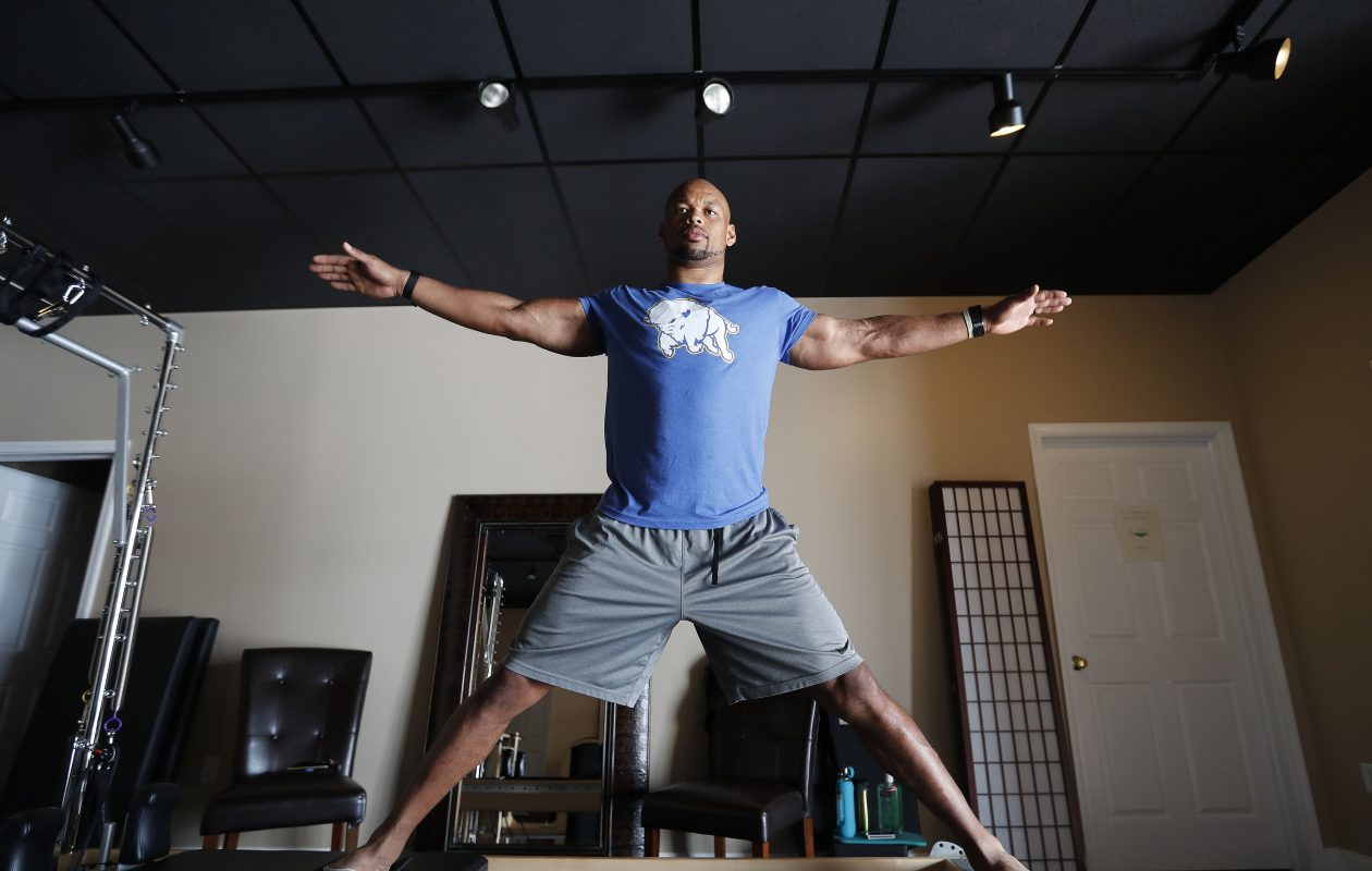 Buffalo Bills LB Lorenzo Alexander has a pilates session at Symmetry Pilates Studio in Orchard Park Tuesday, Sept. 12, 2017.  (Mark Mulville/Buffalo News)