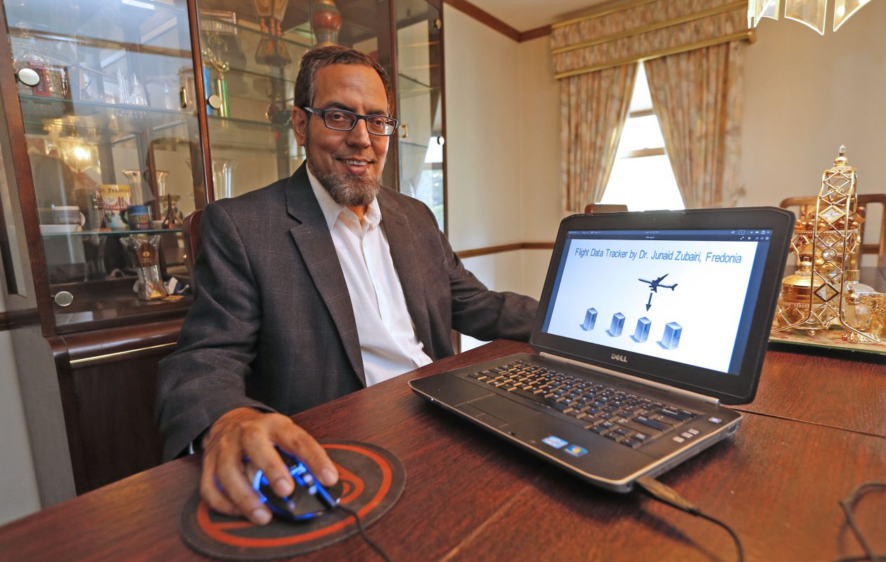SUNY Fredonia computer science professor Junaid Zubairi developed a Flight Data Tracker that could one day replace black boxes in airplanes. (Robert Kirkham/Buffalo News)