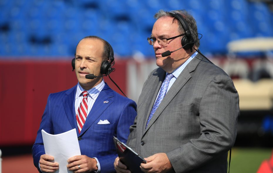 Buffalo Bills media employees Chris Brown and John Murphy tape a pregame show segment prior to playing the New York Jets at New Era Field on Sunday, Sept. 10, 2017.(Harry Scull Jr./The Buffalo News)