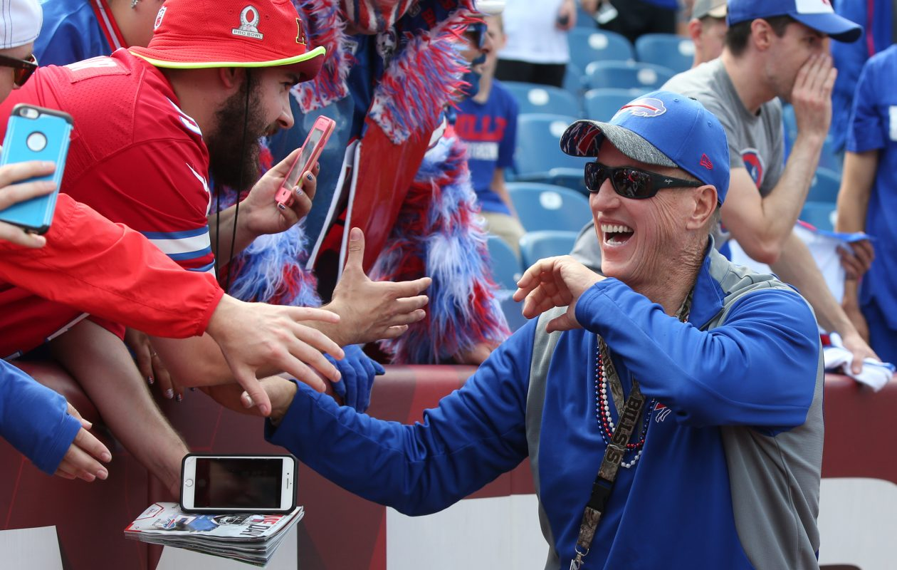 Jim kelly greets fans during pregame at New Era Field in Orchard Park, N.Y. on Sunday, Sept. 10, 2017. He will be tossing a few autographed footballs to fans at the tailgate event on Sunday. (James P. McCoy/Buffalo News)