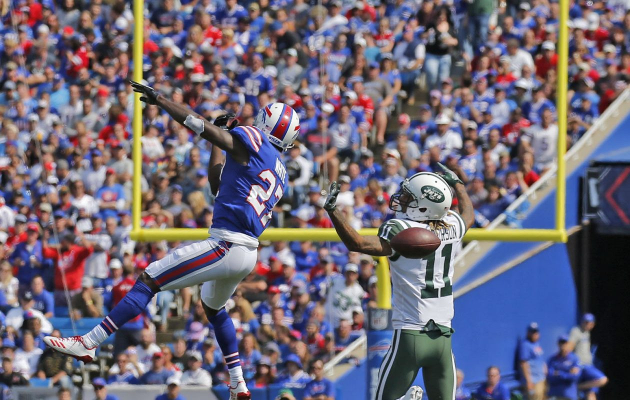 Buffalo's Tre'Davious White gets in New York Jets receiver Robby Anderson's face enough to break up his focus for a dropped pass on Sunday, Sept. 10, 2017. (Robert Kirkham/Buffalo News)