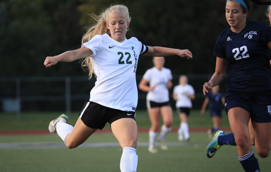 Pioneer's Meghan Root leads all of Section VI in goals scored with 20. (Harry Scull Jr./The Buffalo News)