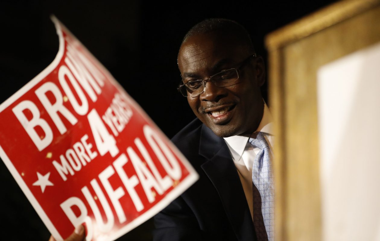 Buffalo Mayor Byron Brown greets his supporters from the stage at his primary night party on Court Street, Tuesday, Sept. 12, 2017.  (Derek Gee/Buffalo News)