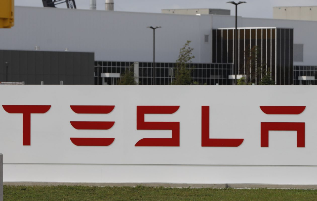 A Tesla at the entrance to the Riverbend plant in South Buffalo.  (Derek Gee/ News file photo)