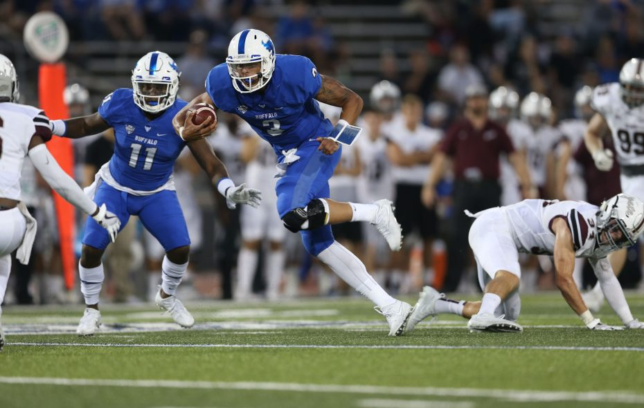 Bulls quarterback Tyree Jackson rushes with the ball against Colgate during the first half last Saturday at UB Stadium. (Derek Gee/Buffalo News)