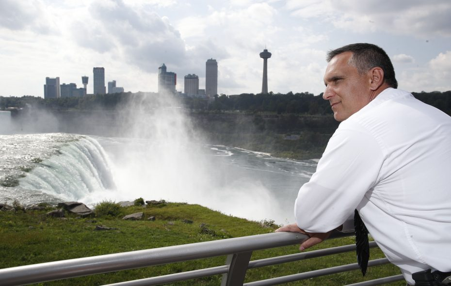 State Park Police Detective Sergeant Brian Nisbet looks out over the American Falls at Prospect Point, where many of the mysteries handled by his department begin. Park Police, led by Major Patrick Moriarty, put in a lot of time and effort to identify the bodies found in the lake and river below the falls. (Sharon Cantillon/Buffalo News)
