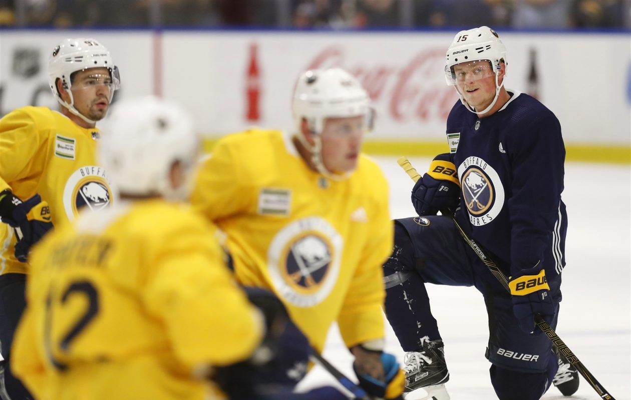 Victor Antipin, left, is scheduled to play Friday. Jack Eichel, right, could skate at home Saturday. (Mark Mulville/Buffalo News)