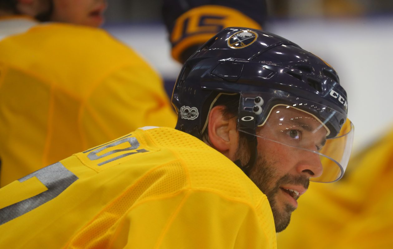 Benoit Pouliot skated as the left winger for Ryan O'Reilly during Thursday's practice. (John Hickey/Buffalo News)