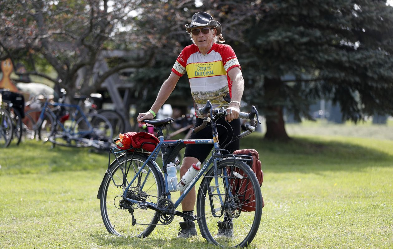 Casey Zmich has been touring the U.S. by bicycle since July 2016, and returned to Buffalo last week.  Photo by Mark Mulville/Buffalo News.