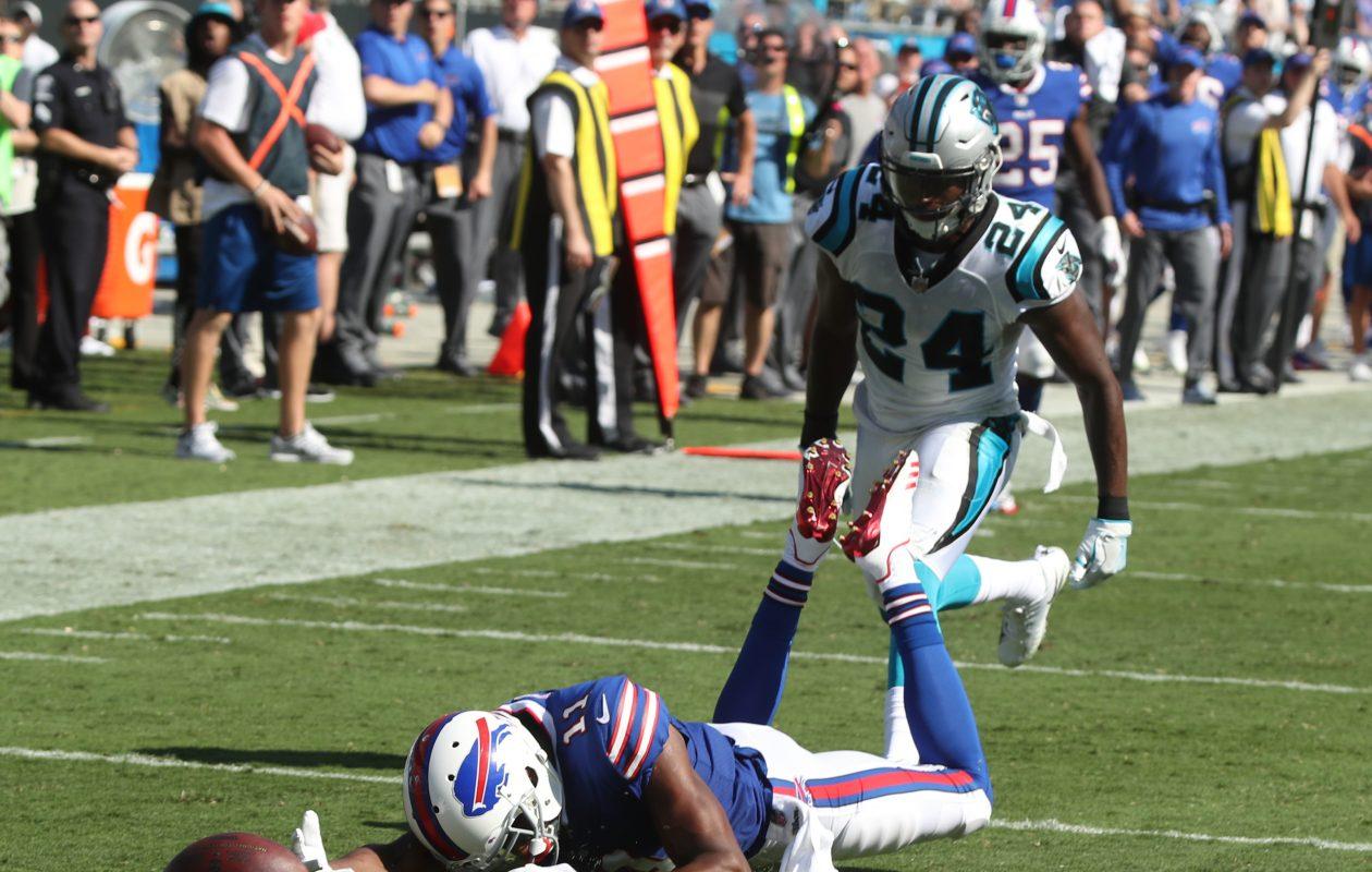 Zay Jones and the Buffalo Bills' offense had a miserable showing Sunday against the Carolina Panthers. (James P. McCoy/Buffalo News)