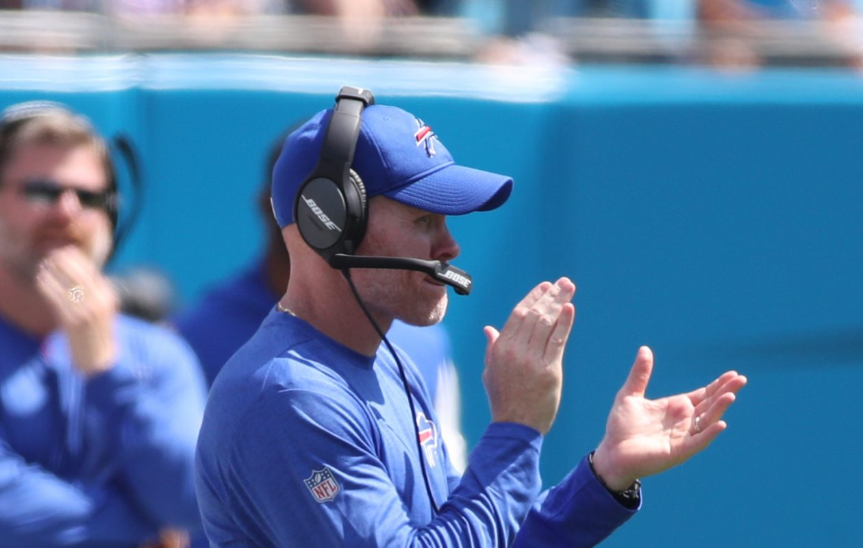 Bills coach Sean McDermott explains why he didn't use a timeout late in the fourth quarter of Sunday's loss to Carolina. (James P. McCoy / Buffalo News)