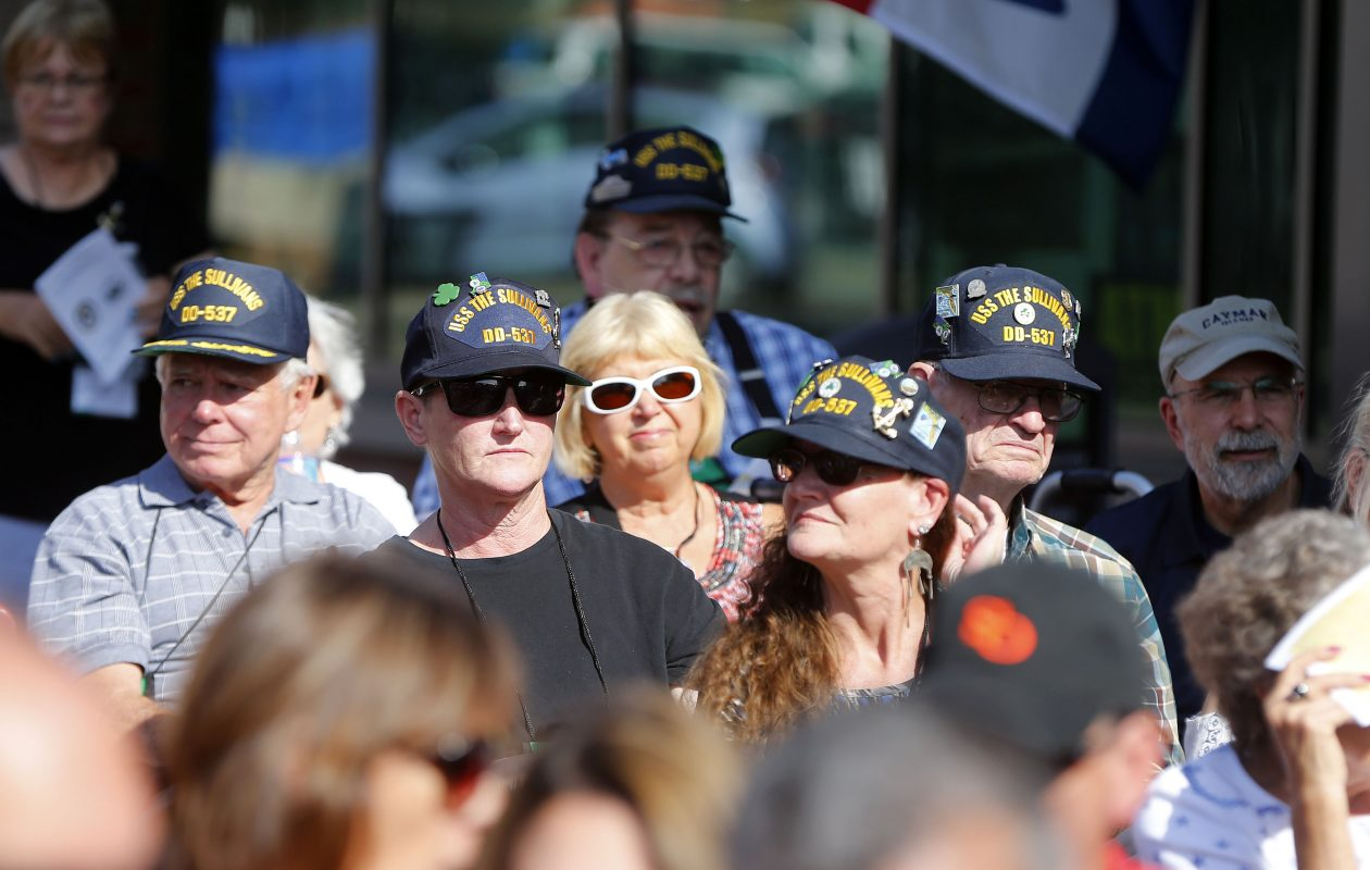 It was warm and sunny on the first day of fall - a perfect day for a reunion at the Buffalo and Erie County Naval & Military Park at Canalside on Friday, Sept. 22, 2017.  (Mark Mulville/Buffalo News)