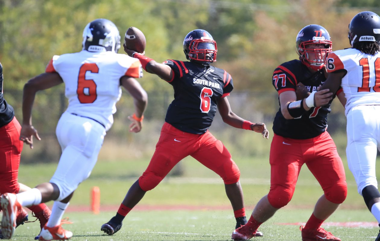 Quarterback Deabeyon Humphrey and the South Park Sparks defeated the McKinley Mack to remain unbeaten. (Harry Scull Jr./ Buffalo News)