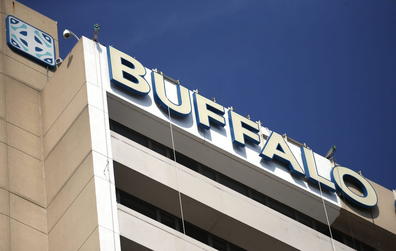 Work has begun to improve the exterior of Buffalo General.  (Robert Kirkham/Buffalo News)