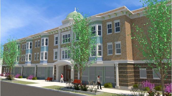Rendering of Hispanics United's proposed La Plaza senior housing complex on Virginia Street.