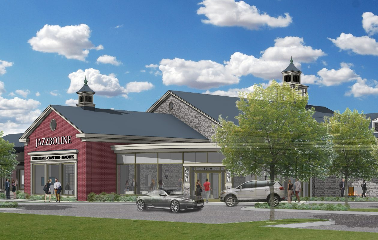 A rendering of Jazzboline, the restaurant planned for the site of the former Sonoma Grille, next to the Reikart House hotel in Snyder (Iskalo Development)