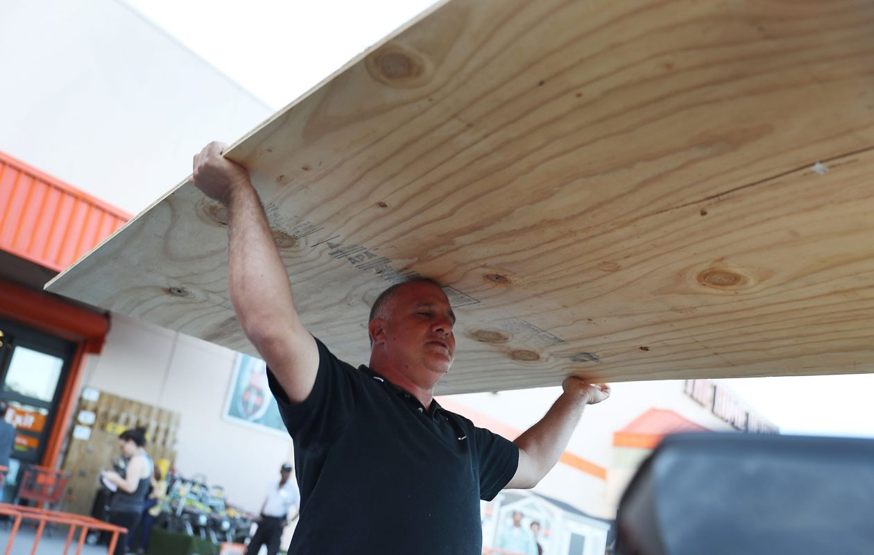 Pedro Toledo purchases plywood at the Home Depot as he prepares for Hurricane Irma on September 6, 2017 in Miami, Florida. (Getty Images)