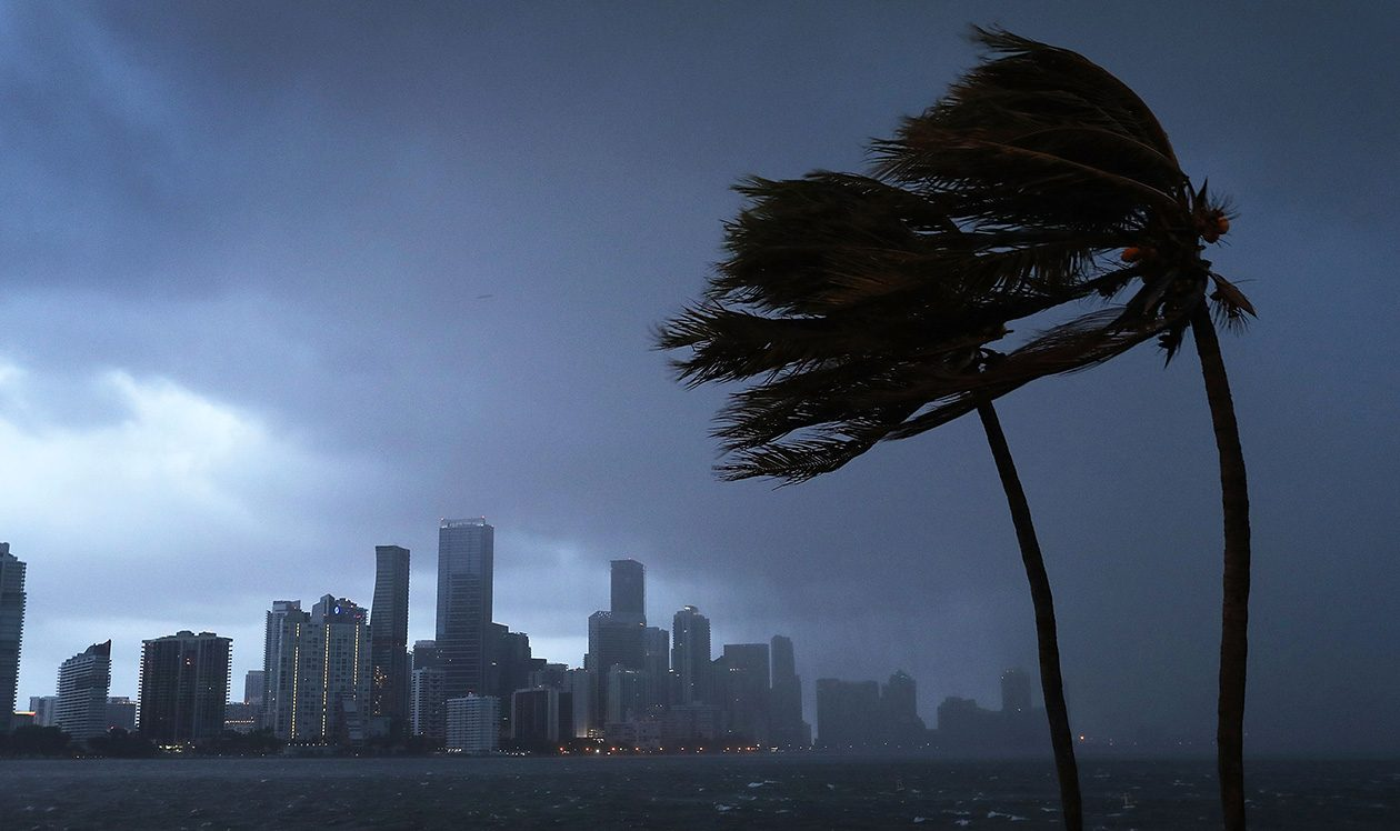 The Miami skyline is seen as the outerbands of Hurricane Irma start to reach Florida on Sept. 9.  (Joe Raedle/Getty Images)