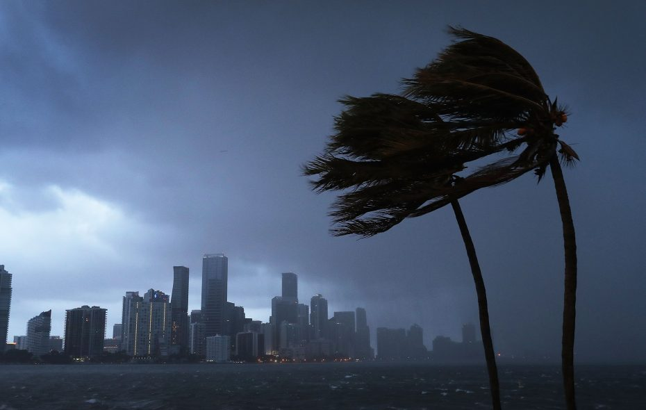 The skyline is seen as the outerbands of Hurricane Irma start to reach Florida on Sept. 9, 2017, in Miami. (Getty Images)