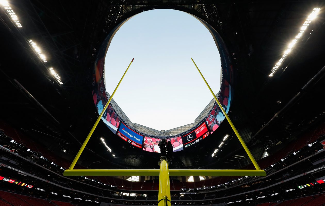 A general view of the open roof at Mercedes-Benz Stadium on Sept. 17, 2017 in Atlantaa. (Getty Images)